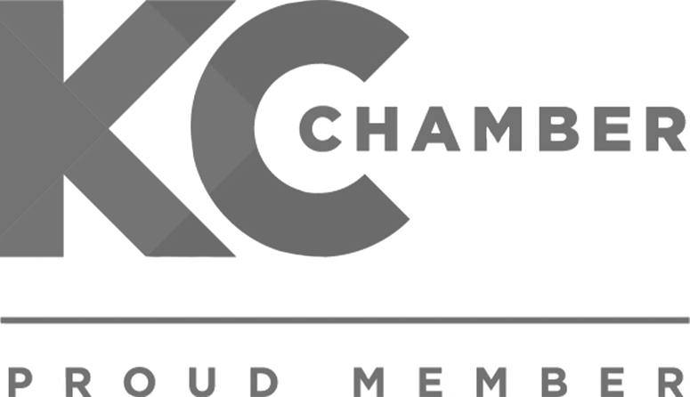 black and white logo for the KC chamber of commerce