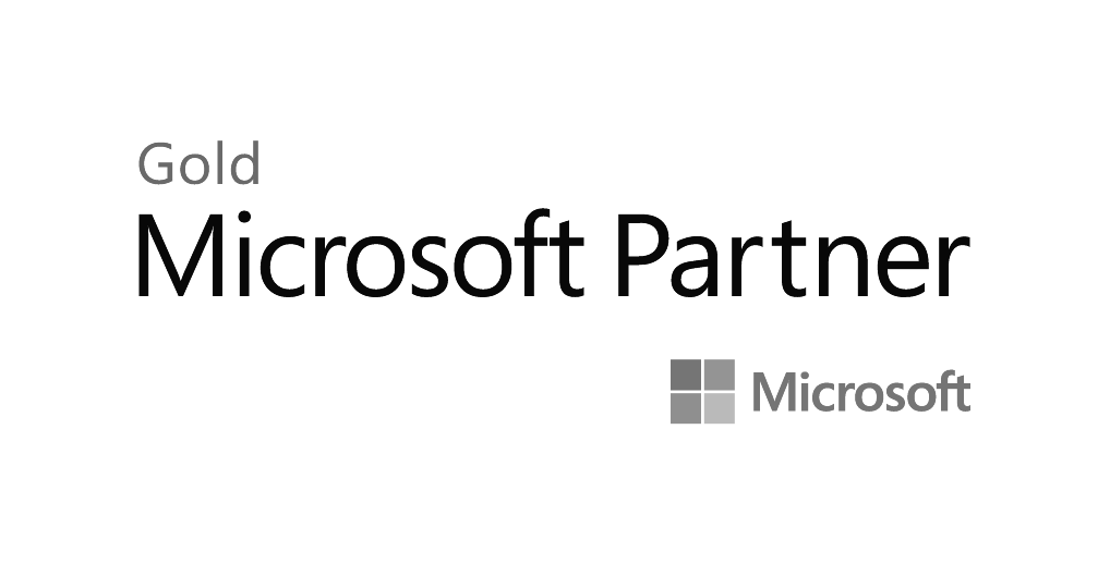 microsoft gold partner logo with a black and white background